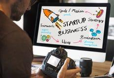 Cree el negocio Rocket Ship Graphic Concept Imágenes de archivo libres de regalías