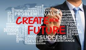 Cree el nuevo futuro con el dibujo relacionado de la mano de la nube de la palabra por busine Imagenes de archivo