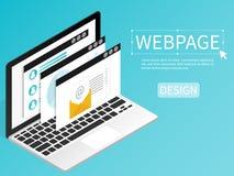 Cree el vector plano isométrico del ordenador del diseño de la página web de la página web ilustración del vector