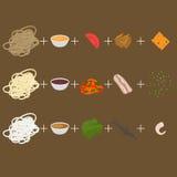 Cree el wok Sistema de elementos planos del diseño de la comida coreana, tailandesa y china Menú asiático de la comida de la call Imágenes de archivo libres de regalías