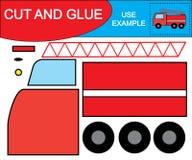 Cree la imagen del coche de la salida de incendios usando las tijeras y el pegamento Juego de Kid's libre illustration