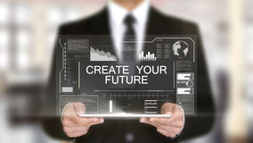 Cree su futuro, interfaz futurista del holograma, realidad virtual aumentada almacen de metraje de vídeo