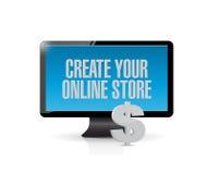cree su mensaje de la tienda en línea en el ordenador fotos de archivo