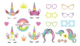 Cree su propio unicornio - colección grande stock de ilustración