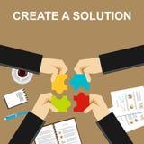 Cree un ejemplo de la solución Fabricación de un concepto de la solución Hombres de negocios con los pedazos del rompecabezas Con stock de ilustración