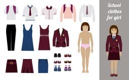 Creeer de uitrusting van het schoolmeisje met verschillende uniformen Stock Afbeelding