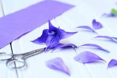 Creeer met de hand gemaakte bloemen Werkschema, hulpmiddelen en materialen Royalty-vrije Stock Foto