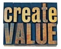Creeer waarde houten typografie royalty-vrije stock foto
