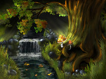 Creek. Illustration, a stream in the woods under a tree vector illustration