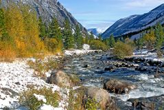 Creek in Beartooth Wilderness. Snow and creek near Red Lodge, Montana Stock Image