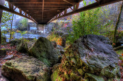 Creek and Bridge in HDR Royalty Free Stock Images