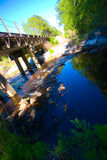 creek bridge ponad linią kolejową, Fotografia Royalty Free