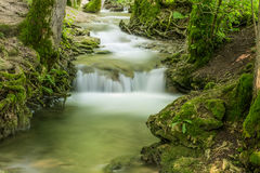 Creek with cascade at the swabian alb Royalty Free Stock Image