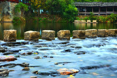 Creek detail in Qinghua Zhen ,Wuyuan China Stock Photography
