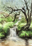 Creek in fairy forest. Beautiful creek in fairy forest among fresh green hills, watercolor painting royalty free illustration