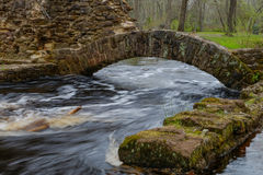 Creek flooding around the foundation of an old structure Royalty Free Stock Images
