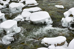 Creek flow icy season Royalty Free Stock Images