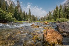 Creek Flowing Through Cascade Canyon. In Grand Teton National Park Stock Images