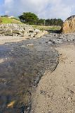 Creek flowing in to the Pacific Ocean at low tide, Moss Beach, Fitzgerald Marine Reserve, California royalty free stock photo