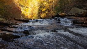 Coker creek in autumn. A creek flows through a colorful forest in autumn stock images
