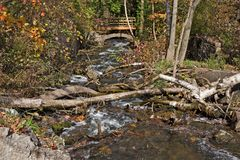 Creek with footbridge Royalty Free Stock Photos