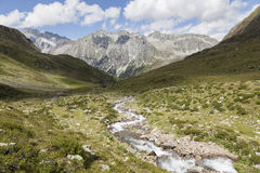 Creek in high mountain valley, Alps. Royalty Free Stock Photography