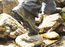 Creek Hiking with Mountain Boots Closeup Royalty Free Stock Photography