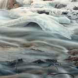 Creek Ice Formation. Close-up of an ice formation above a flowing creek Stock Image