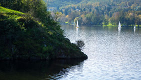 Creek on the lake and small sailing boats Royalty Free Stock Photos