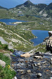 Creek and Lakes of the Rila Mountains Stock Photo