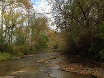 Creek meandering through the changing landscape of autumn Royalty Free Stock Photos