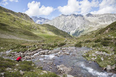 Creek in mountain valley, Austrian/Italian Alps. Stock Photo