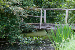 Creek with old wooden bridge. A narrow creek with an old wooden bridge to pass it Royalty Free Stock Photo