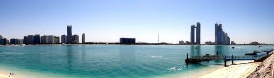 Creek Park panorama. Ocean and buildings panorama in Creek Park, Dubai, UAE Royalty Free Stock Images
