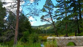 The creek. This picture was taken while crossing cascade creek in lake tahoe. The beautiful scenery captured behind the bridge Stock Photos