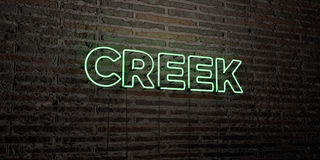 CREEK -Realistic Neon Sign on Brick Wall background - 3D rendered royalty free stock image. Can be used for online banner ads and direct mailers vector illustration
