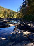 Creek and Rocks. Trees surround rocky  Creek in early Autumn Stock Photos