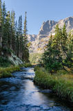 Creek Runs Beneath the Little Matterhorn in Colorado Stock Photography