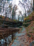Creek runs through rocks and colorful fall trees in autumn Royalty Free Stock Images