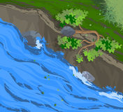 Creek scenery. Illustration creek scenery and forest nature background stock illustration