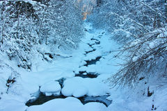 Creek in snow landscape Royalty Free Stock Images