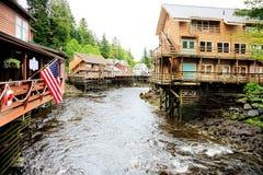 Creek Street. Ketchikan Alaska, looking downstream royalty free stock image