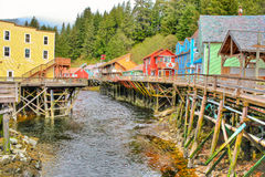 Creek Street. This is a picture of a board walk built along a street in Ketchikan, Alaska Royalty Free Stock Photo