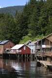 Creek Street Reflections. The reflections of historic Creek Street houses in Ketchikan, Alaska stock photo