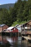 Creek Street Reflections. The reflections of historic Creek Street houses in Ketchikan, Alaska Stock Photo
