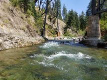 Creek and trestle. Creek in montana, cold water, trains Stock Photos