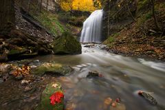 Creek with waterfall. Wide angle image of creek in a canyon with waterfall in the background and red maple leaf on a rock in the foreground Royalty Free Stock Photography