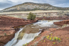 Creek with waterfalls at Colorado foothills Stock Images