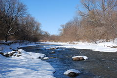 Creek in winter. A snowy creek on a clear day in winter Royalty Free Stock Photo