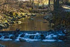 Creek in a winter cold near the town Logatec Royalty Free Stock Images
